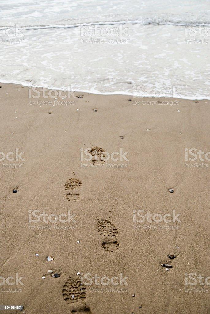 フットプリントビーチの砂 ロイヤリティフリーストックフォト