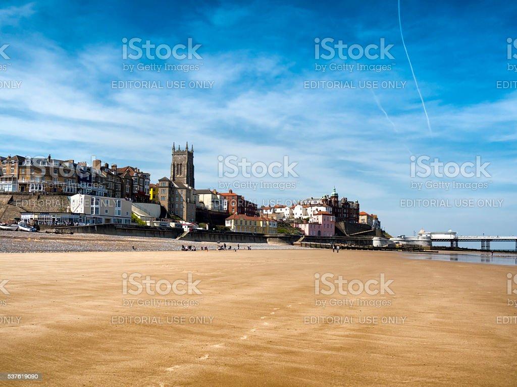 Footprints on Cromer beach stock photo