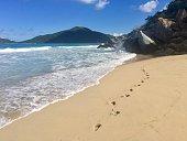 Deserted sandy beach in British Virgin Islands