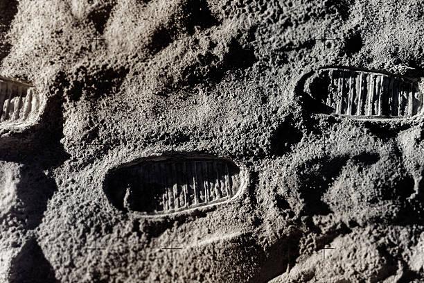 Footprints on Moon stock photo