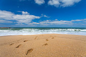 Footprints on sand by the sea and clouds in blue sky