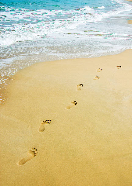 Footprints on tan sand near blue water and gentle surf stock photo