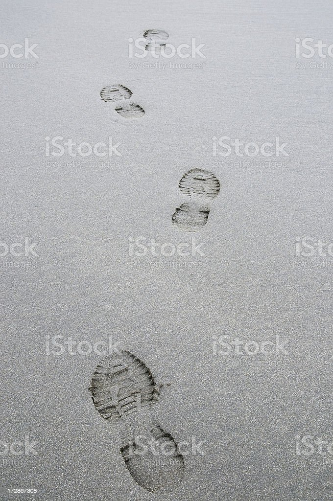 Some footprints on the wet sand of a beach.