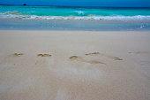 Footprints on the beach. Similan islands.