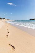 Footprints on the desert beach