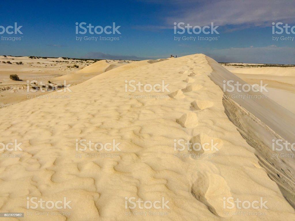 Footprints on the Desert Sand stock photo