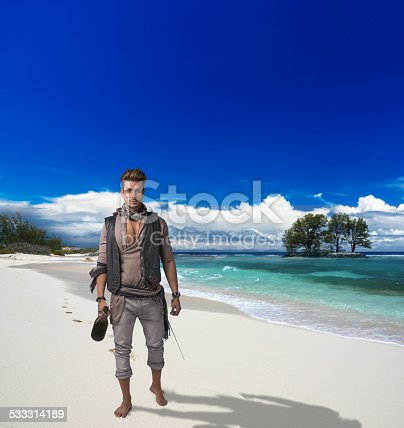 istock Footprints on the desrt beach of Little Exuma, Bahamas 533314189