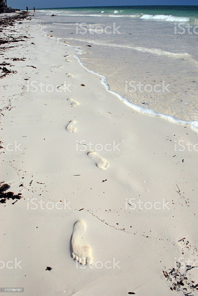 Footprints on the shore stock photo