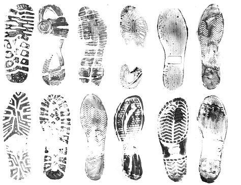 footprint stains isolated on white