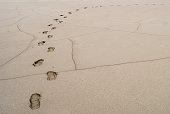 Footprints through soft mud in the Great Salt Lake in Utah