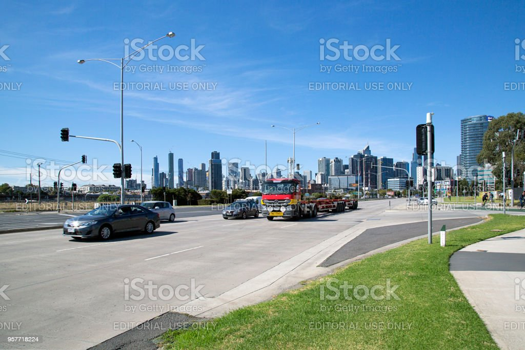 Footscray Road in Melbourne - Busy Highway stock photo