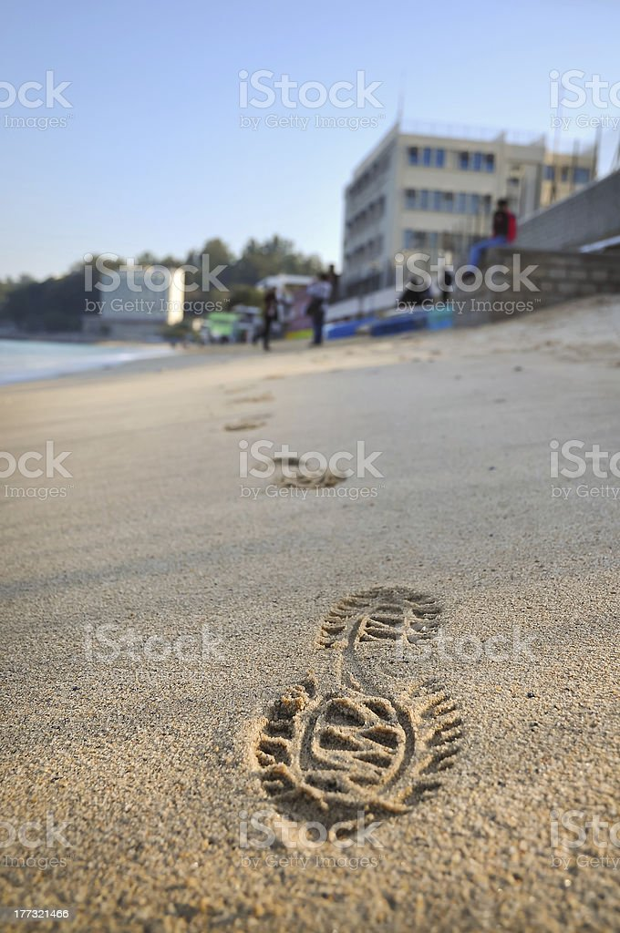 Footstep on Beach, Cheung Chau stock photo