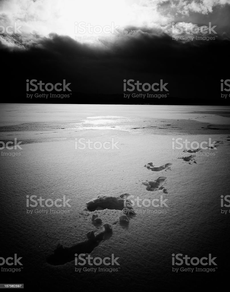 footsteps in snow stock photo