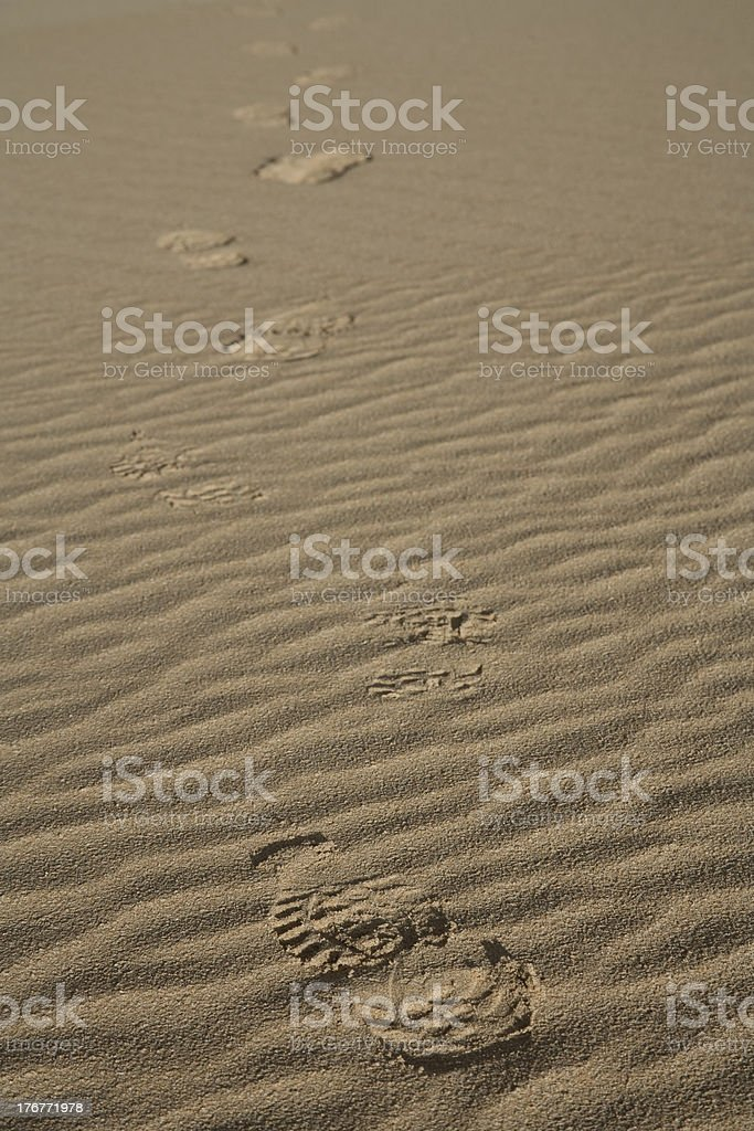 footsteps in the dune royalty-free stock photo