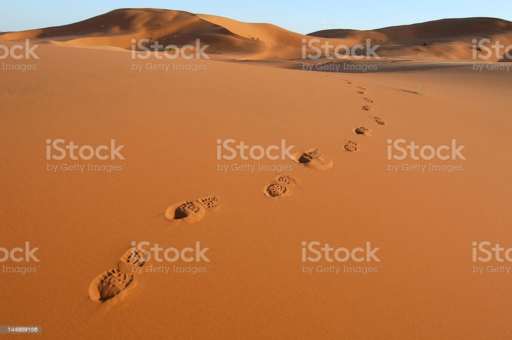 Footsteps in the Sahara Desert royalty-free stock photo