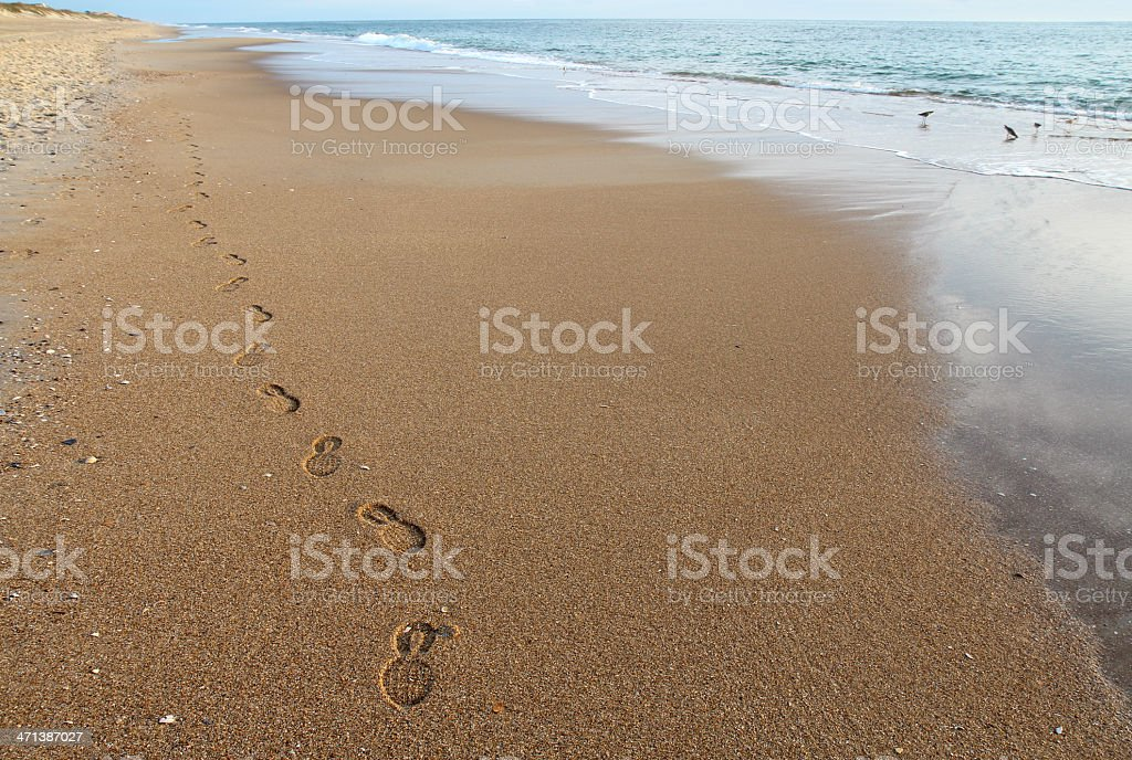 Footsteps on a beach in North Carolina stock photo