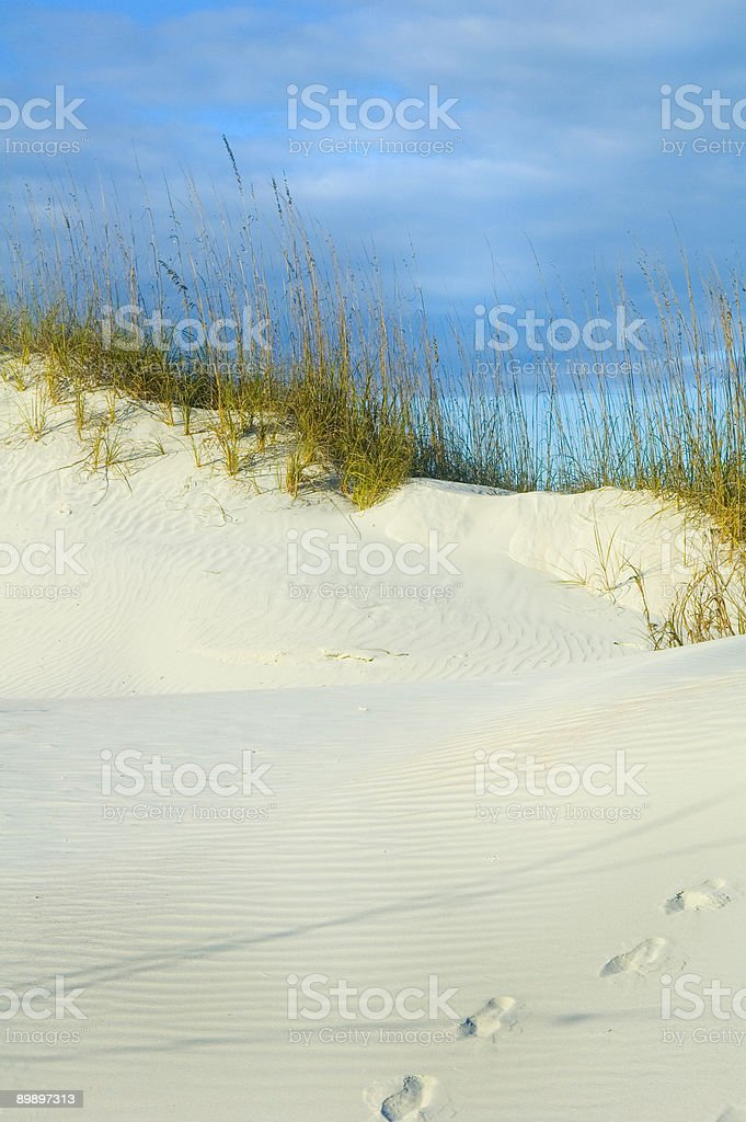 Footsteps on sand dune royalty-free stock photo