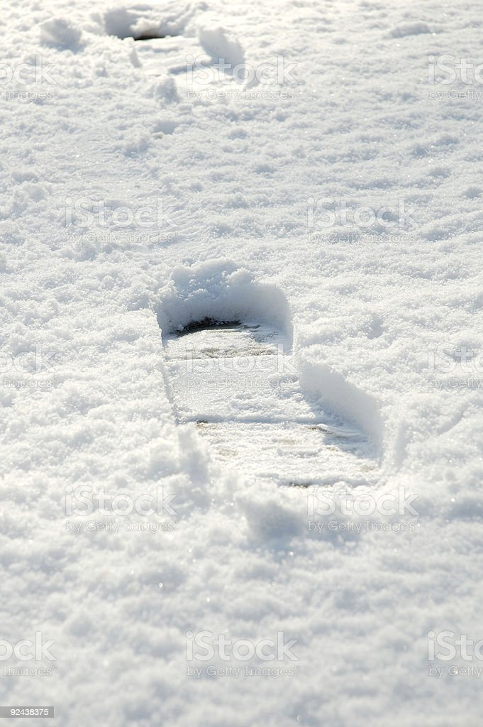 Footsteps on snow royalty-free stock photo
