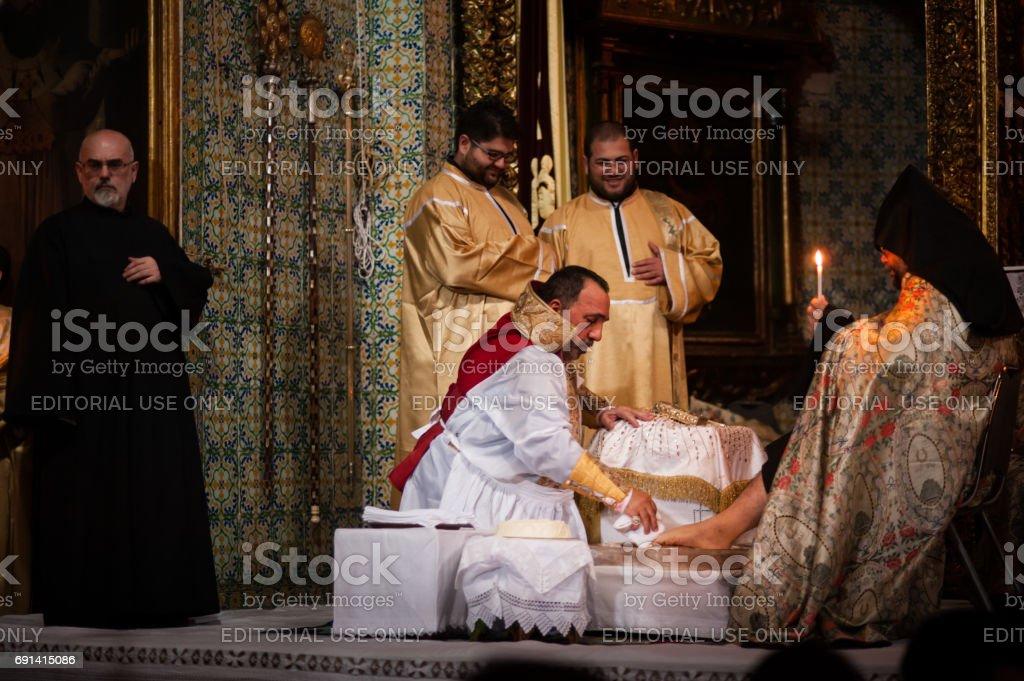 Foot-washing at Armenian Orthodox Cathedral of St. James, Jerusalem stock photo
