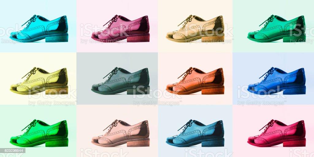 sneakers for cheap 27709 30a77 Schuhekonzept Collage Aus Bunten Classic Leder Herrenschuhe Pastellfarben  Schuhe Für Junge Menschen Stockfoto und mehr Bilder von Accessoires
