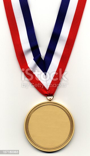 Gold medal on red, white and blue ribbon. Medal is blank, just add your own inscription.