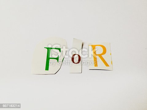 812461124 istock photo For - Cutout Words Collage Of Mixed Magazine Letters with White Background 937183214