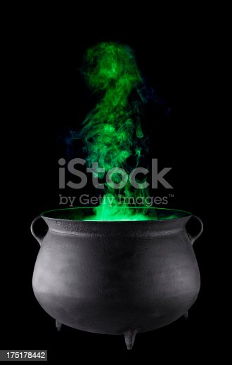 Cauldron with Green Smoke billowing out, great for spooky halloween or mysterious brews.