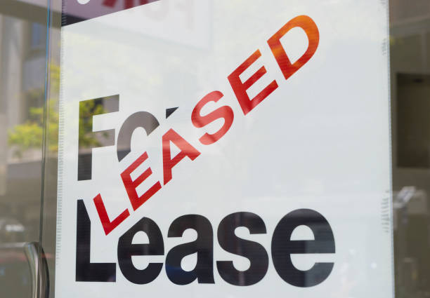 For lease and leased sign stock photo