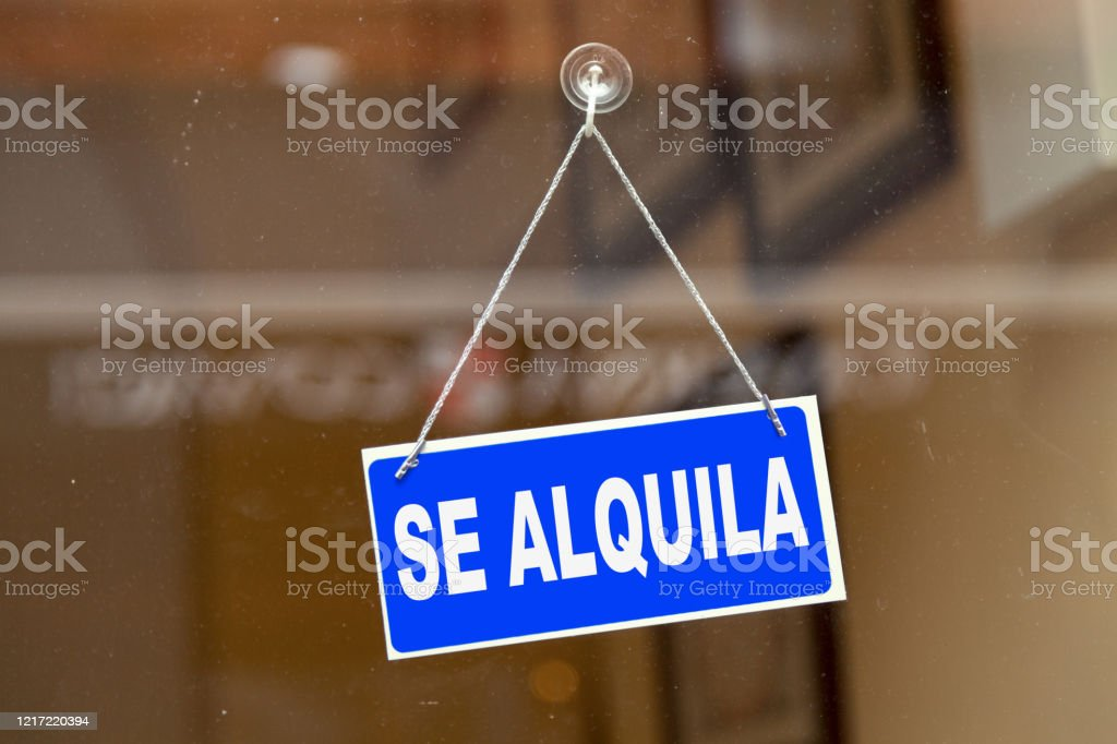 For rent - Real estate sign - Royalty-free Blue Stock Photo