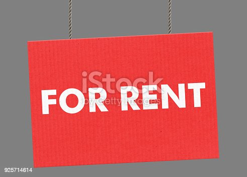 istock For rent sign hanging from ropes. Clipping path included so you can put your own background. 925714614