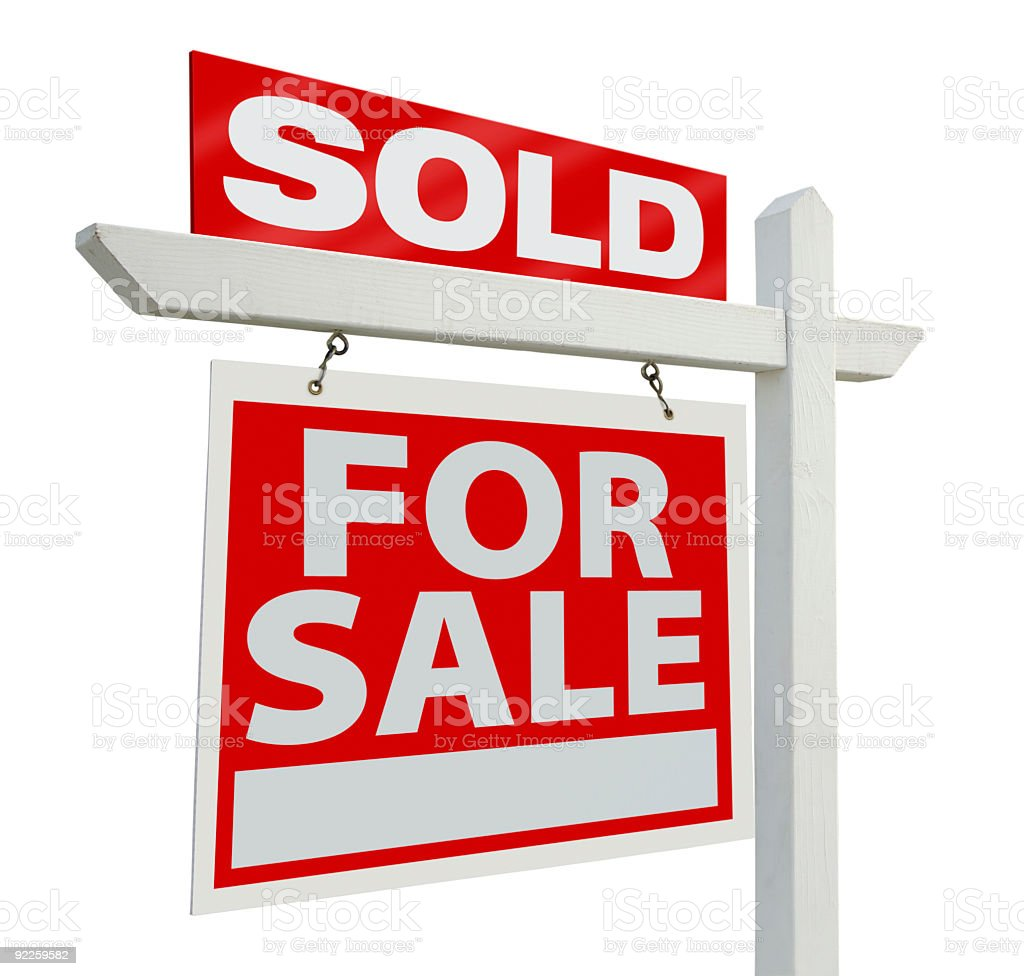 For sale real estate sign with sold sign on top stock photo