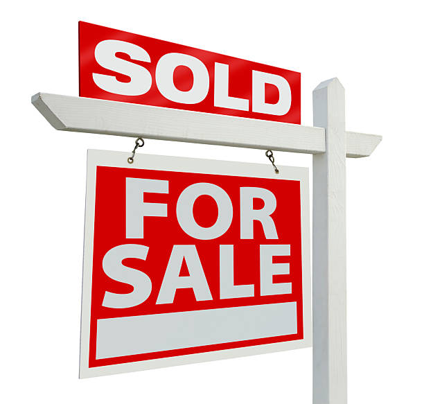 For sale real estate sign with sold sign on top Sold Home For Sale Real Estate Sign Isolated on a White Background. real estate sign stock pictures, royalty-free photos & images