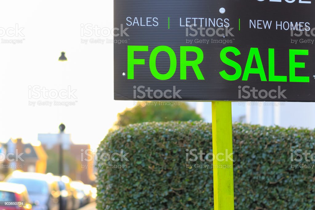 For Sale sign displayed on London street stock photo