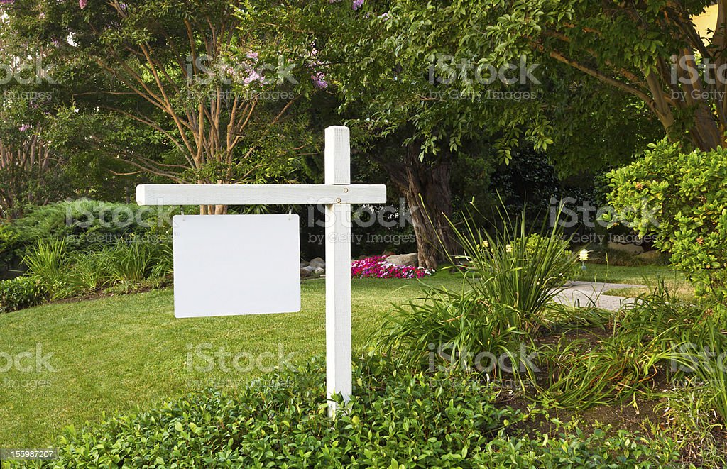 For Sale Sign In Yard stock photo