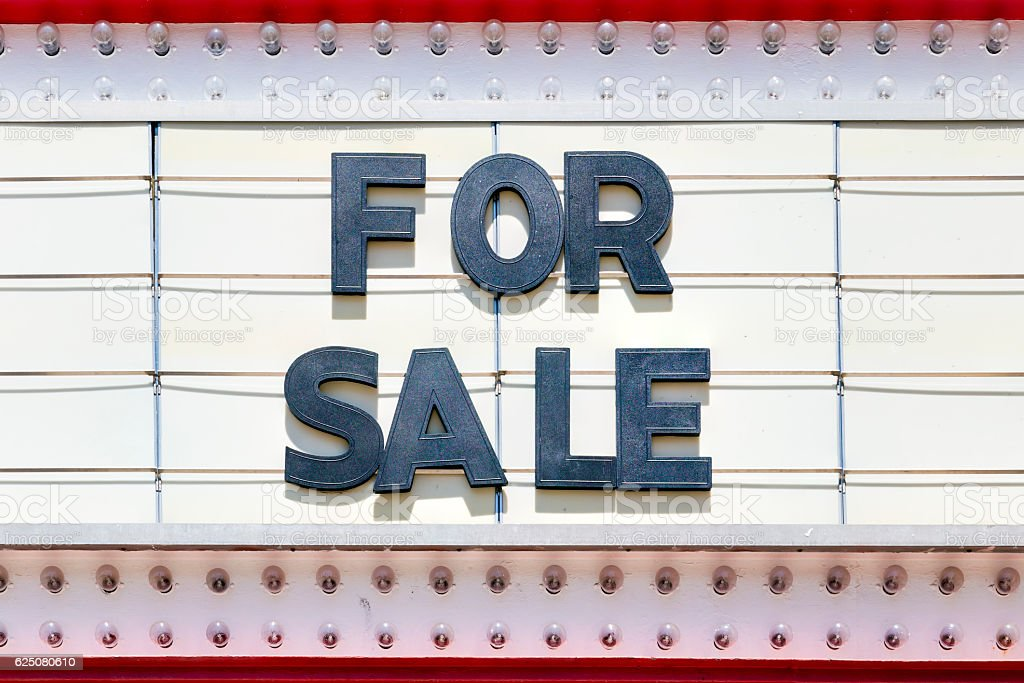 For Sale Sign on a Theater Marquee stock photo