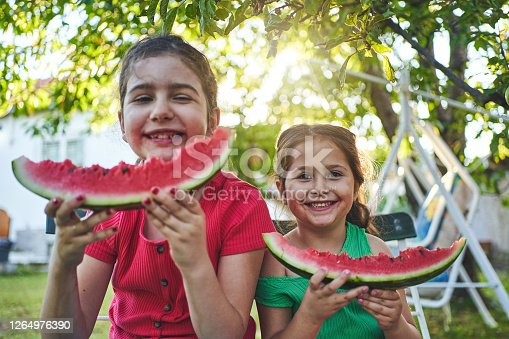 Charming female cousins enjoying summer day, while having fun together, eating refreshing watermelon at their back yard