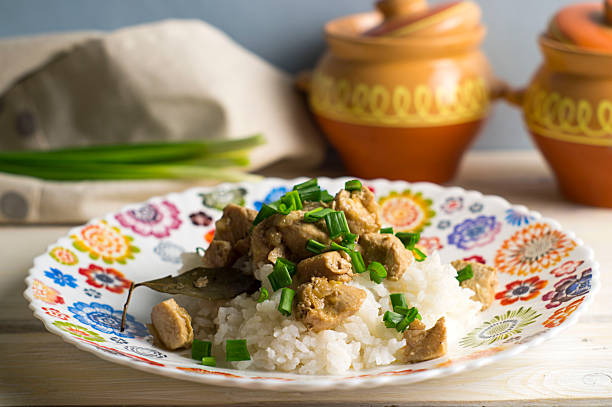 For the Filipino adobo, chicken, rice stock photo