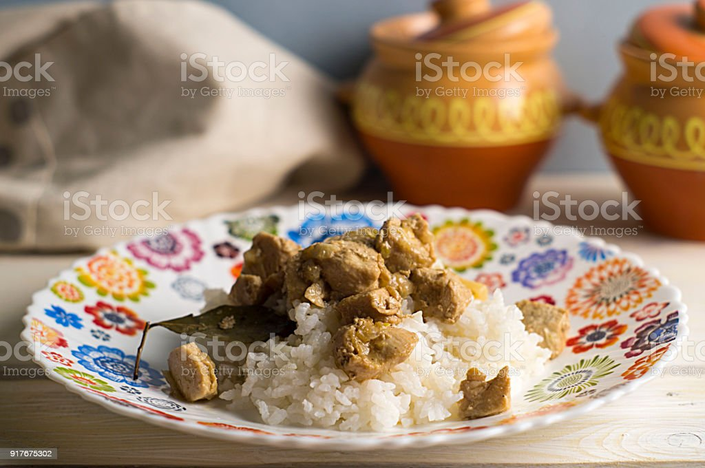 For the Filipino adobo, chicken, rice stock photo