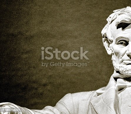 The statue of Lincoln at the Lincoln Memorial.