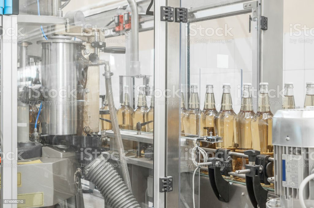 for the production of glass bottles factory stock photo