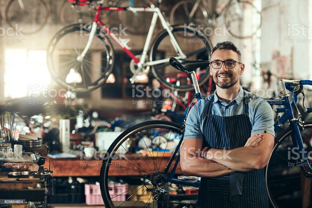 For trusted bicycle repair, I'm your guy stock photo