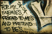 Message to friends and other people in graffiti on a wall.