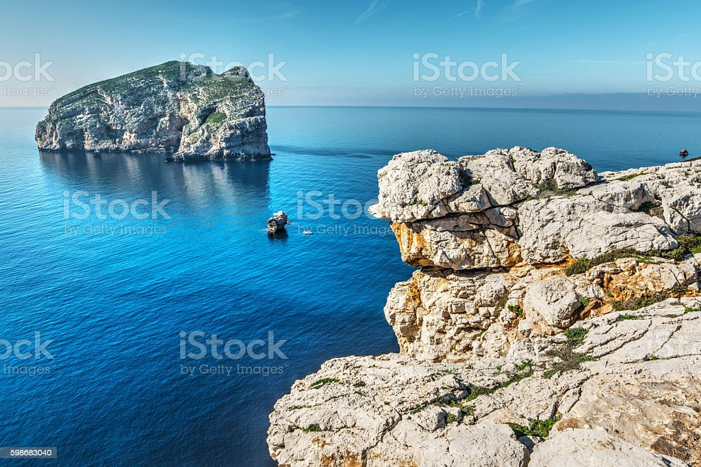 Foradada island in Capo Caccia stock photo