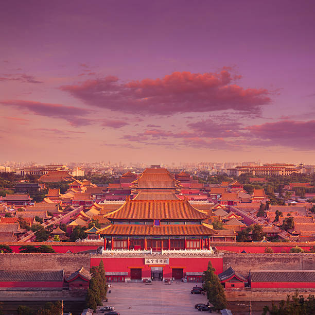 Forbidden City, Beijing Evening view over the historical Forbidden City (North Gate) in central Beijing, China. forbidden city stock pictures, royalty-free photos & images