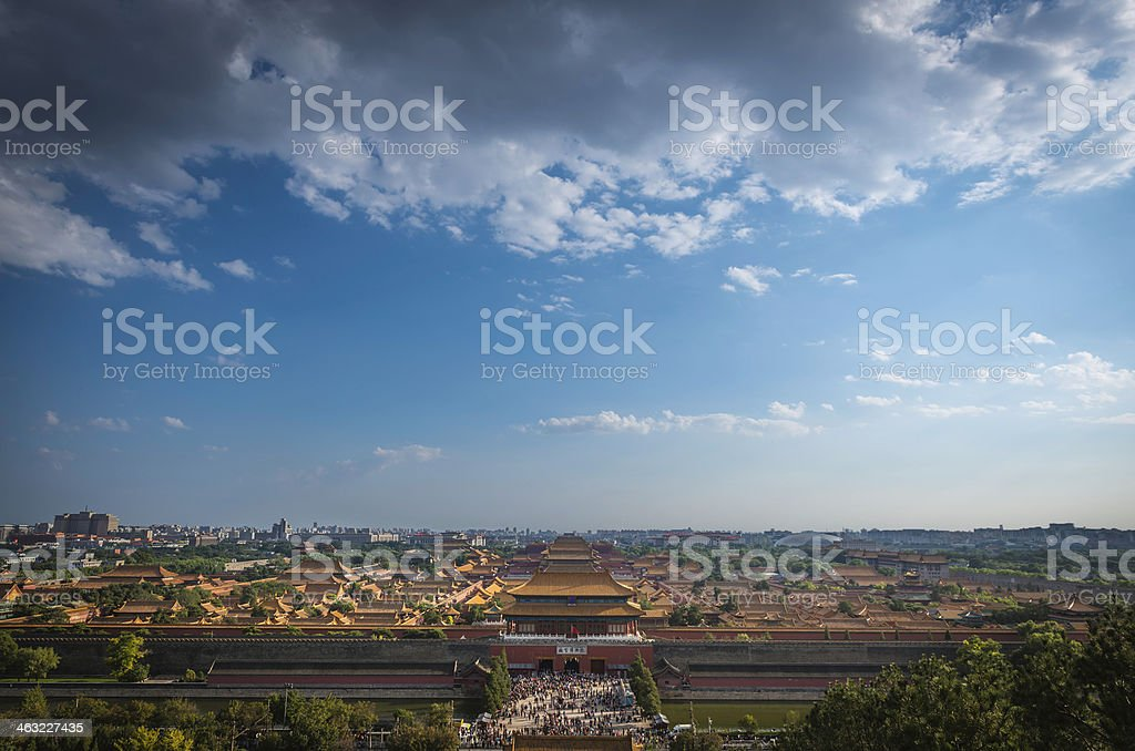 Forbidden City crowds at Gate of Divine Might Beijing China stock photo