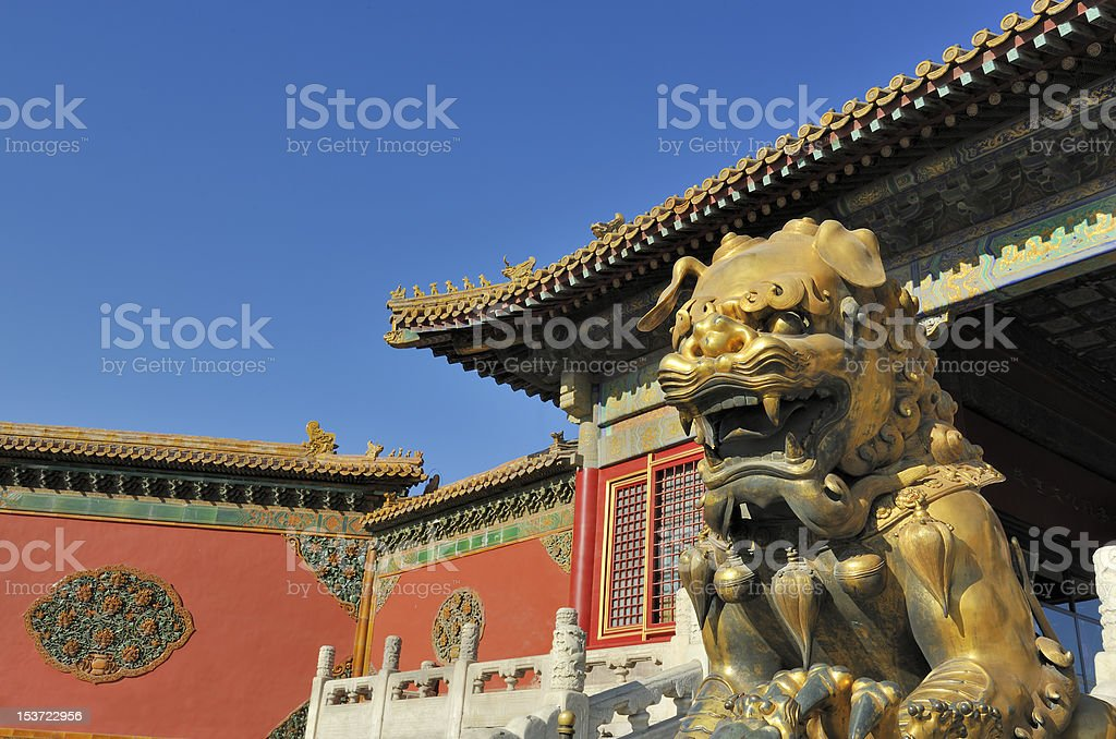 Forbidden City Imperial Guardian Lions royalty-free stock photo