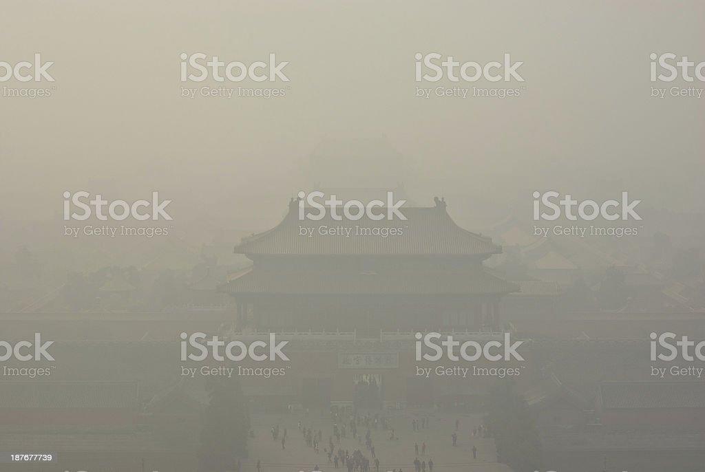 Forbidden City in Air Pollution stock photo