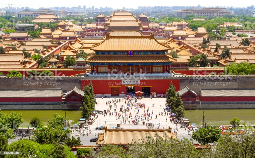 Forbidden city in Beijing from above. Beijing, China at the Imperial City north gate. stock photo