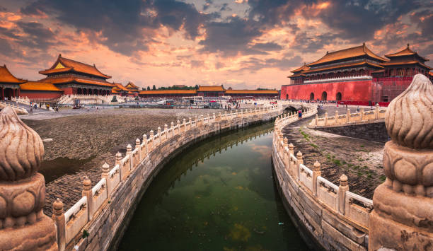 Forbidden City A moat runs through the center of the Forbidden City in Beijing, China. forbidden city stock pictures, royalty-free photos & images