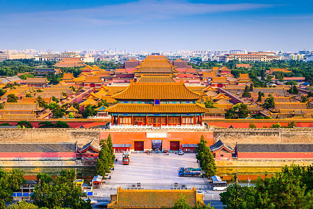 Forbidden City Beijing, China city skyline at the Forbidden City. forbidden city stock pictures, royalty-free photos & images
